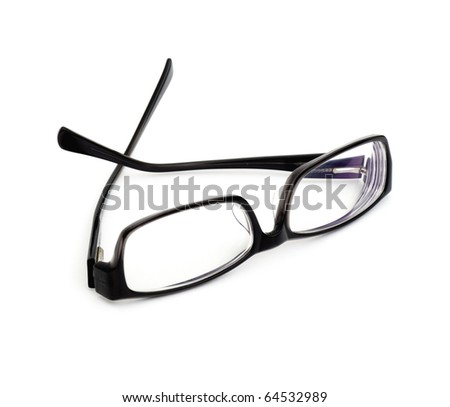 Pair of black glasses isolated on white - stock photo