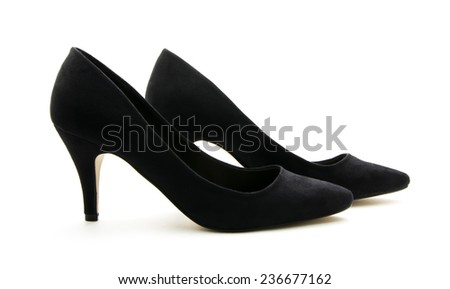pair of black high heel shoes isolated on white background - stock photo