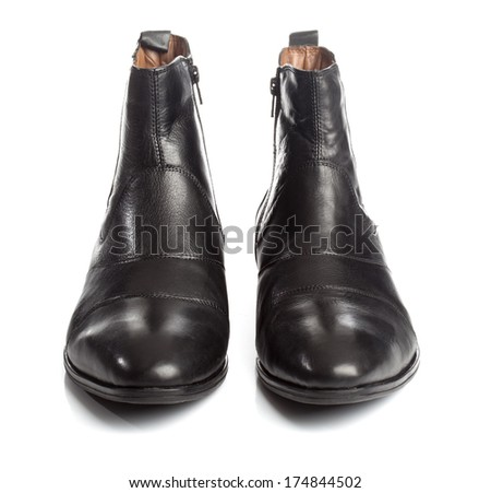 Pair of black leather boots for the winter season.