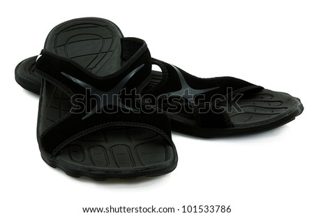 Pair Of Black Sport Sandals Over White Background - stock photo
