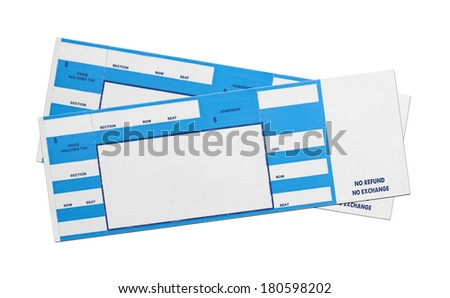 Pair of Blank Blue Concert Performance Tickets Isolated on White Background. - stock photo