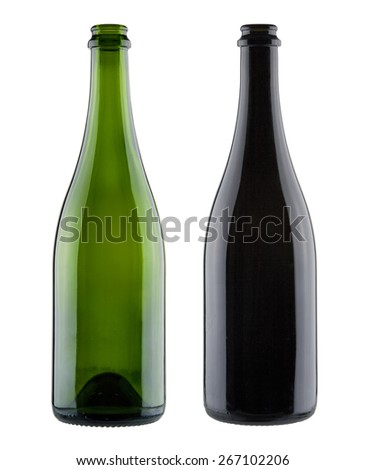 Pair of blank champagne bottles - stock photo