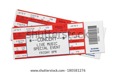 Pair of Blank Red Concert Performance Tickets Isolated on White Background. - stock photo