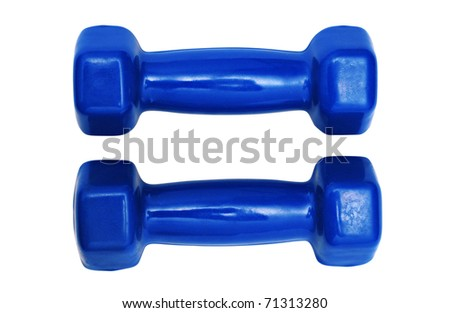 Pair of blue dumbbells isolated on a white - stock photo