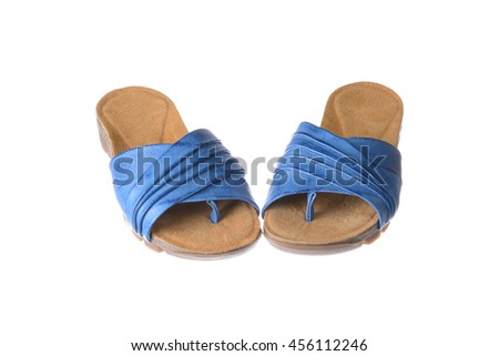 pair of blue females slippers over white - stock photo