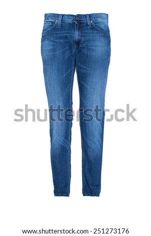 Pair of Blue Jeans Isolated on white - stock photo