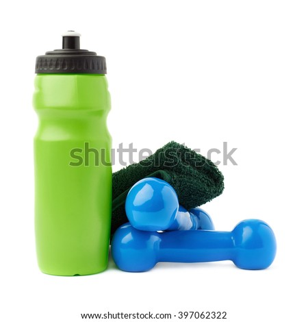 Pair of Blue Plastic coated dumbells, green water bottle and  towel isolated over the white background - stock photo