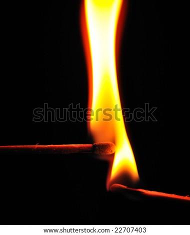Pair of burning matches - stock photo