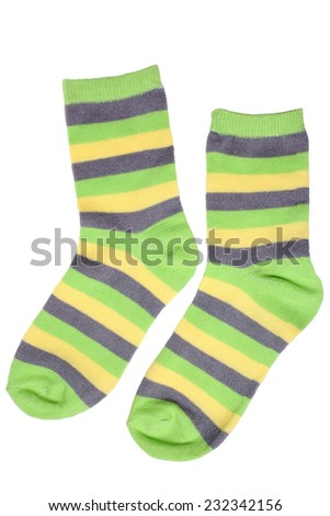 Pair of child's striped socks isolated on white background - stock photo