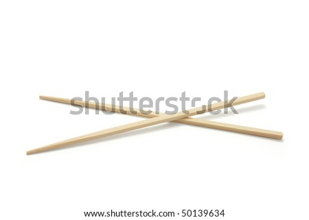 Pair of Chopsticks on White Background - stock photo