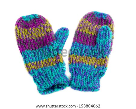 Pair of colored knitted mittens. Isolate on white. - stock photo