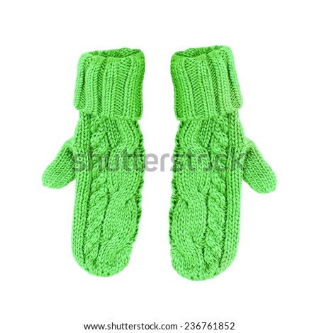 Pair of colored knitted mittens Isolate on white background - stock photo