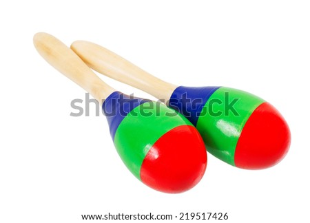 Pair of colorful wooden maracas baby rattle isolated on white background - stock photo