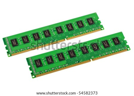 Pair of computer memory modules isolated on white background - stock photo