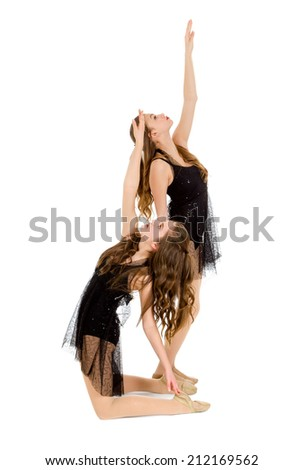 Pair of Contemporary Teen Lyrical Dancers in Duet Recital Costume - stock photo