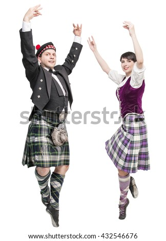 Pair of dancers of Scottish dance isolated