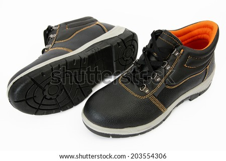 Pair of Dark Brown Safety Boots Isolated on White Background