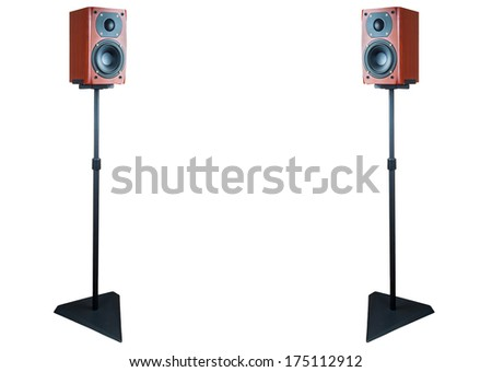 Pair of dark cherry loudspeakers on stands isolated on white background with clipping path - stock photo