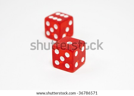 Pair of dice, lucky seven, isolated on white background, shallow DOF