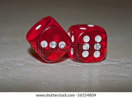 Pair of die waiting to be rolled - stock photo