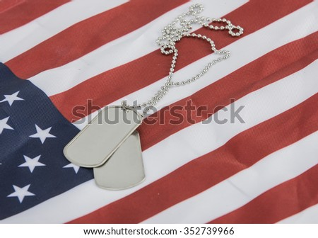 Pair of dog tags blank on american flag - stock photo