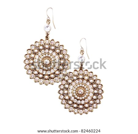 Pair of earrings isolated on the white background. - stock photo