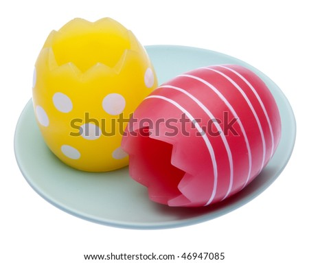 Pair of Easter Eggs on a Plate isolated on white with a clipping path.