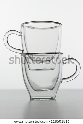 pair of empty double-sided espresso glass isolated