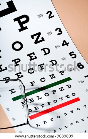 Pair of Eyeglasses Sitting Atop an Eye Exam Chart - stock photo