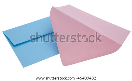 Pair of fun pink and blue envelopes isolated on a white background with a clipping path.  Great Stationery! - stock photo