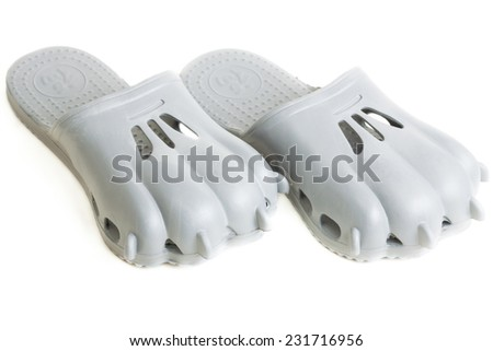 pair of funny gray step-ins look like clutches - stock photo
