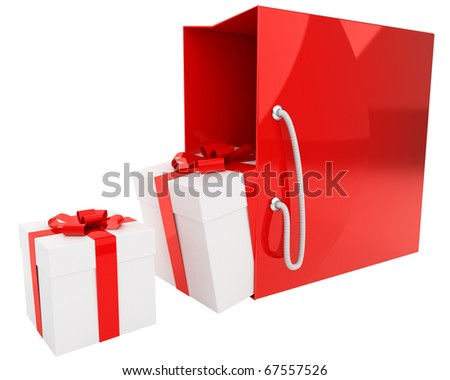 pair of gift boxes and bright red shopping bag isolated on white background