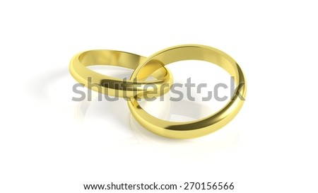 Pair of gold wedding rings, isolated on white - stock photo