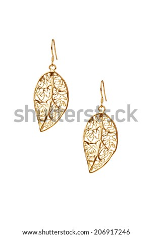 Pair of golden earrings isolated on white background  - stock photo