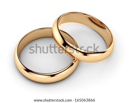 Pair of golden rings - isolated on white background  - stock photo