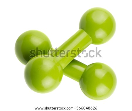 Pair of green dumbbells for fitness isolated on white background - stock photo