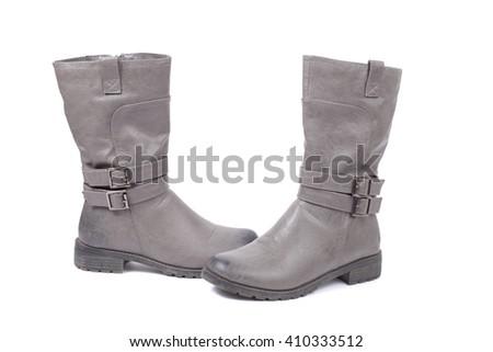 pair of grey boots closeup - stock photo