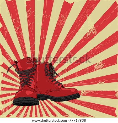 Pair of hand-drawn boots on grungy background. Vector version also available in my portfolio. - stock photo