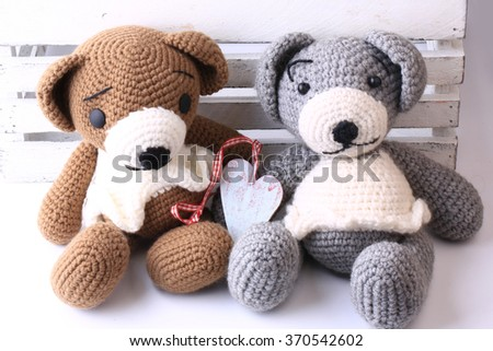 pair of handmade knitted bears love Valentine's Day