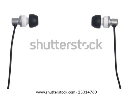 Pair of headphones isolated on white background - stock photo