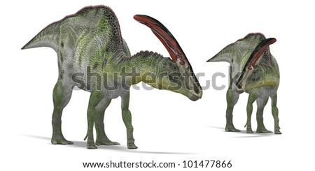 Pair of herbivorous dinosaurs - stock photo