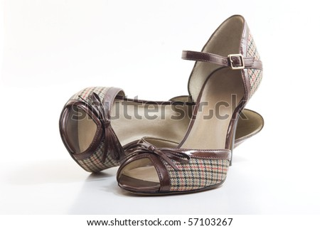 Pair of high heel peep toe shoes