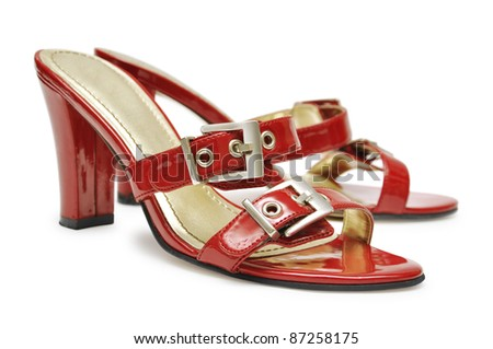 Pair of high heel red female shoes isolated on white background. - stock photo