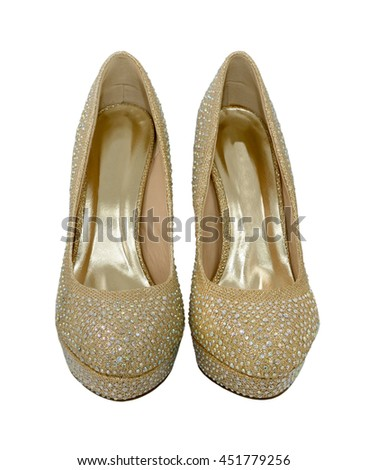 Pair of high heeled gold party shoes for women, decorated with crystals, isolated on a white background - stock photo