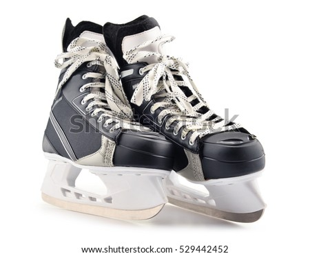 Pair of ice hockey skates isolated on white background.