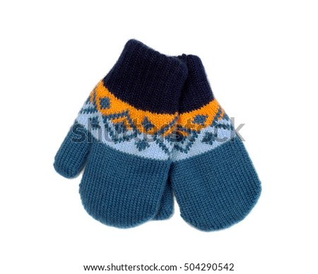 pair of knitted mittens, isolate on white