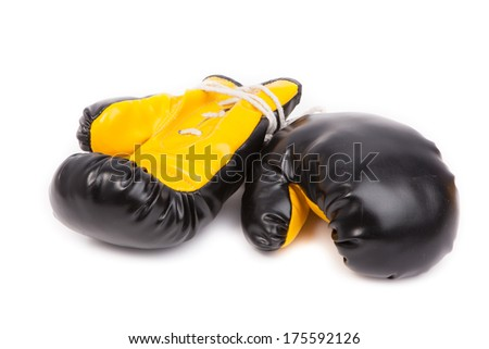 Pair of  leather boxing gloves isolated on white  - stock photo