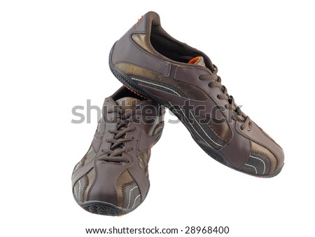 Pair of leather  brown  sneakers. Isolated - stock photo