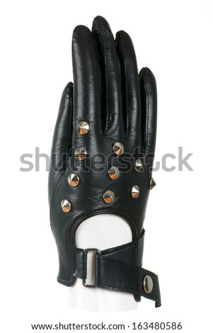 Pair of leather gloves isolated on white background