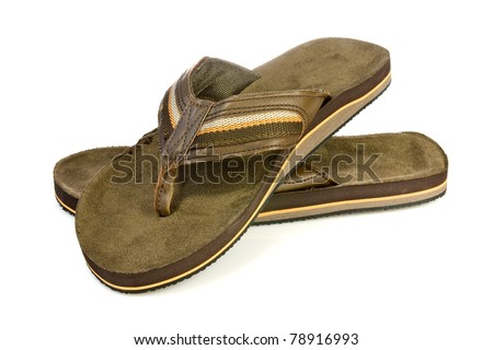 Pair of  men's flip flops over a white background. - stock photo